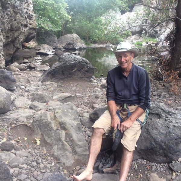 Enjoying the solitude of the Ghetto Wall and Malibu Creek.
