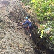 "Rock Climbing Photo: Enjoying the amazing pockets on ""BLP."""