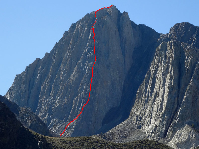 Rock Climbing Photo: Topo picture for the North Buttress of Mount Morri...
