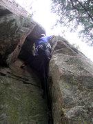 Rock Climbing Photo: Deb starts up the chimney.
