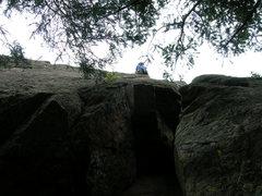 Rock Climbing Photo: Deb climbs above the crux.