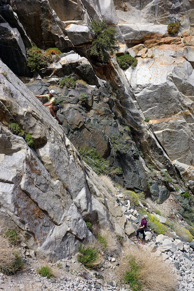 Doug at the crux of 'Sweetie' - Em belaying