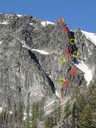 Rock Climbing Photo: Helix and North Tower Ridge topos