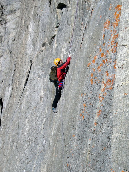 Mark on the lower crux of No Climb for Old Men.