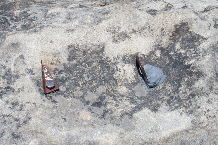 Rock Climbing Photo: Old bolts.  Yeah its just a 5.7 warmup, but I woul...