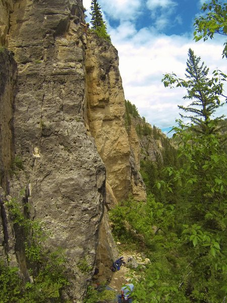 Buckshot Booya, 5.10b<br> Assassin Wall. The Mohican Wall.<br> Spearfish Canyon, SD.