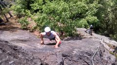 Rock Climbing Photo: Bryan on the second pitch slab right before the he...