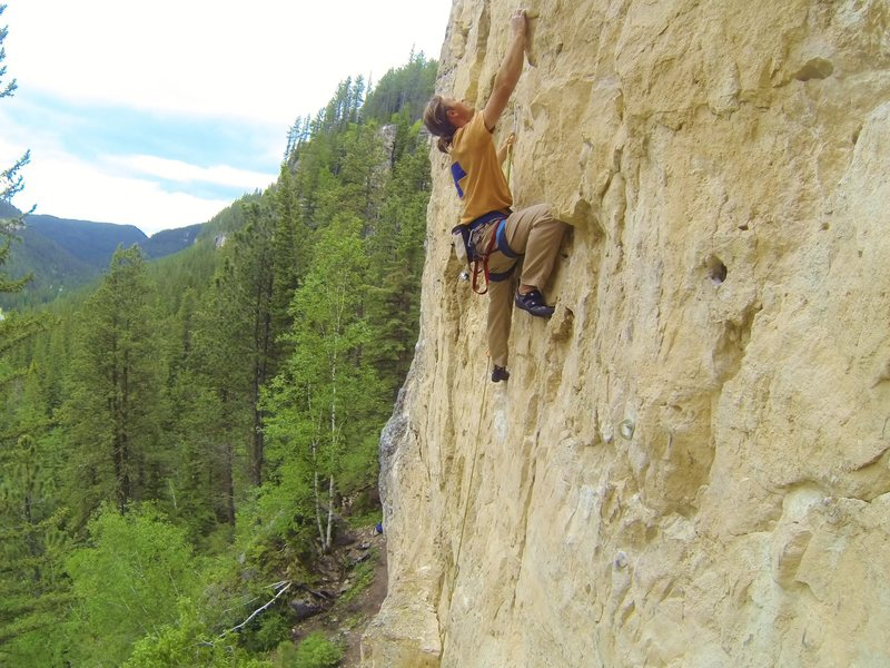 Arron on License to Drill, 5.10d