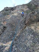 Kurosawa. Crux is directly above the climber.