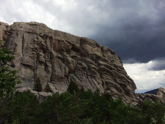 Storm clouds approaching Parking Lot Rock at City of Rocks, ID in June 2015.