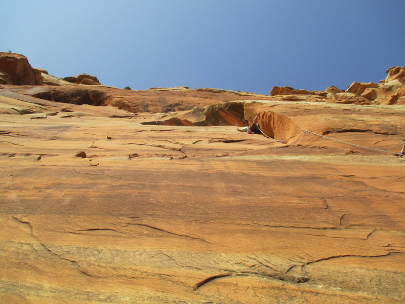 Luhr's route, 5.8, lower monument valley slabs