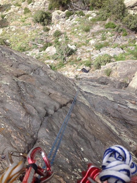 The 5.10 area above the crux.