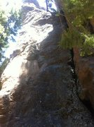 Rock Climbing Photo: Washed out, ugly picture, but it does show the bol...