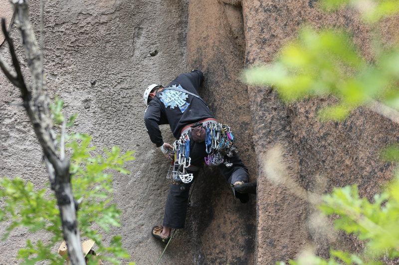 Rock Climbing Photo: Beguin picking the size.