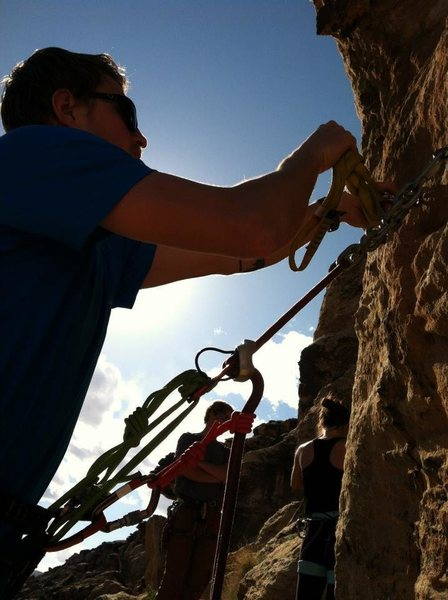 Rock Climbing Photo: Rigging for rappel in Green Valley Gap, St. George...