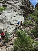 Rock Climbing Photo: A popular place on weekends. Note the climber in t...