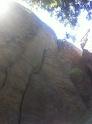 Rock Climbing Photo: Follow the crack to where it ends in a ledge...the...