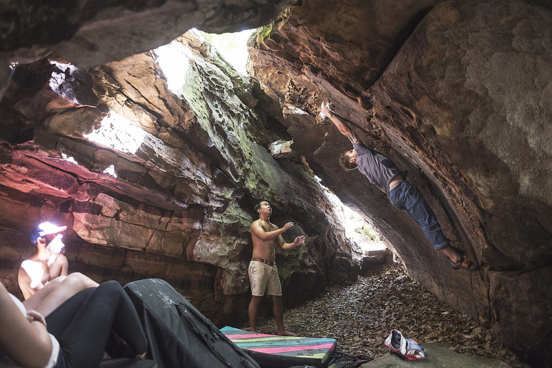 Very fun problem if you like dyno's. Soft for the grade. More likely a v4