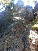 Rock Climbing Photo: Follow the thin crack on the right of the face up ...