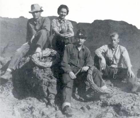 John R. Mendenhall on the left, on the FA of Monument Peak.