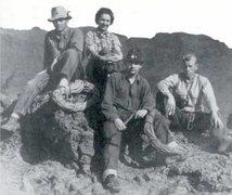Rock Climbing Photo: John R. Mendenhall on the left, on the FA of Monum...