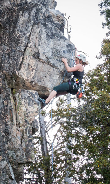 Rock Climbing Photo: Fun crux moves!! The leader has found the incut cr...