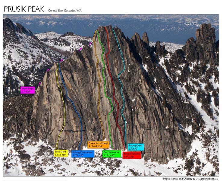Rock Climbing Photo: routes on prusik peak