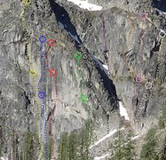 Rock Climbing Photo: Projected North Face route topos