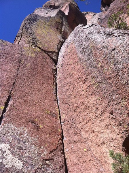 Rock Climbing Photo: 5.10 dihedral above Mount Elden pour off. 30 feet ...