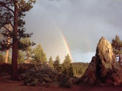 Rock Climbing Photo: Double rainbow, Holcomb Valley Pinnacles