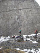 Rock Climbing Photo: The Seamstress slab on a bleak spring day.  Seamst...