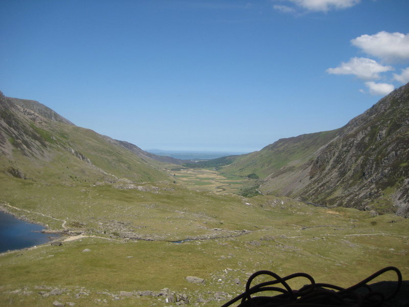 View from the base of Clogwyn y Tarw down the Nant Ffrancon, looking out towards Anglesey.<br> <br> Phto by Phil Ashton