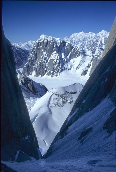 View back to the Ruth Gorge from inside the Shaken, Not Stirred couloir