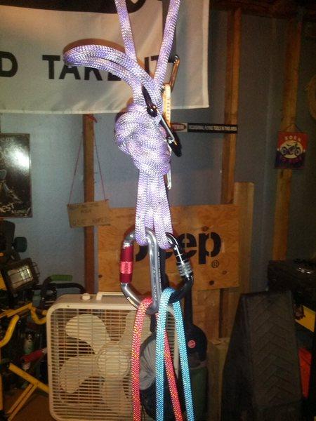 Rock Climbing Photo: Single carabiner per rope
