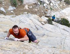 Rock Climbing Photo: High up on the first ascent.