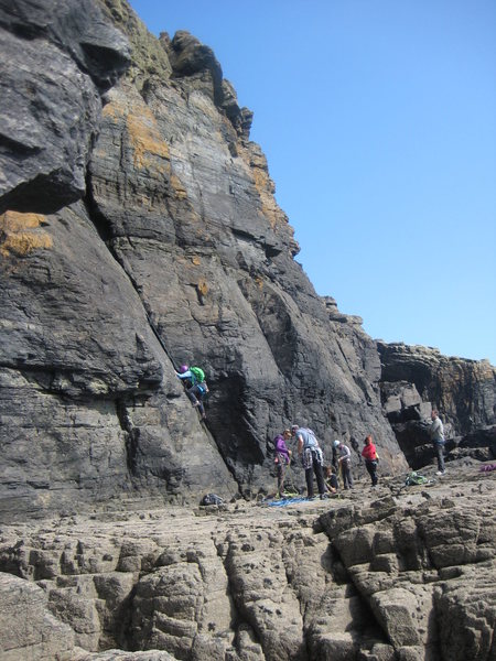 Rock Climbing Photo: The main slabby area at Pen Olver has several easy...