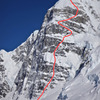North Buttress of Begguya with Deprivation routeline(1994 f.a. finish) marked.