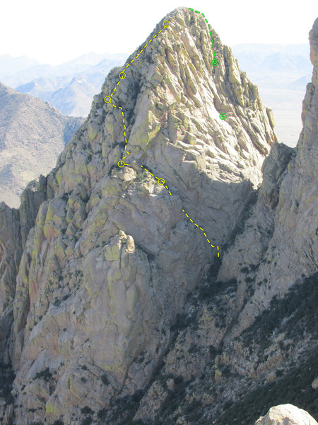 "View from the summit of Rabbit Ears Massif. Climb in yellow (from first to second belay is scramble), descent in green. The ""clean"" version."