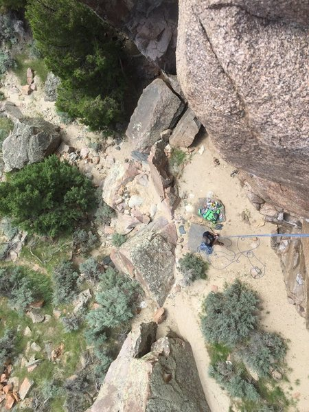 Rock Climbing Photo: Fremont Canyon, Love Shack, Red Dog 5.10a