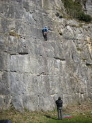 Rock Climbing Photo: Contemplating the hard moves (photo by Phil Ashton...