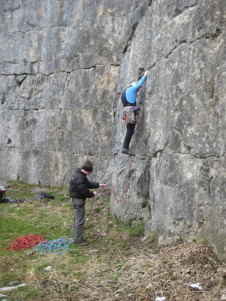 Rock Climbing Photo: Starting Cock-a-Leekie Wall on a cold March day.