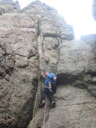 Rock Climbing Photo: Starting P1 (leader's head on stance is just visib...