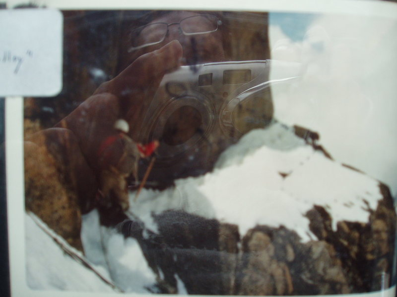 """RoutePhoto#4A  - Ed Nester in 1972 moving Right, off the ledge on the ridge. (just below """"Routephoto#4)"""