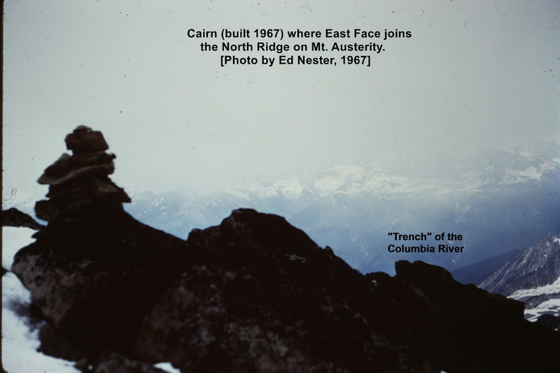 "Columbia ""trench"" and the Cairn at junc. of East Face and Nester Ridge routes; taken by Ed Nester, 1967 on FA East Face."