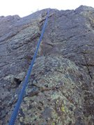 Rock Climbing Photo: About midway up near the crux.  You can see the di...