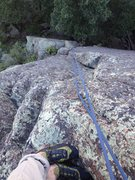 Rock Climbing Photo: Looking down from above the dihedral.