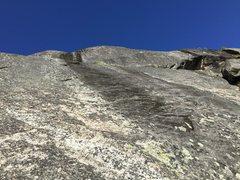 Rock Climbing Photo: Black streak seen from the bottom of the slab.