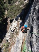 Rock Climbing Photo: View from P1 belay. Route follows flake system dow...
