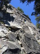 Rock Climbing Photo: Second half of P1 (first half obscured). P1 belay ...
