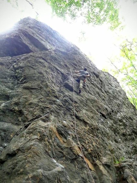 Philippe on Romancing The Stone, 5.8 crag